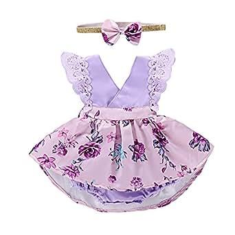PROBABY 幼童女婴衣服花卉连衣裙蕾丝荷叶边袖连衫裤发带 2 件套 紫色 6-12 Months