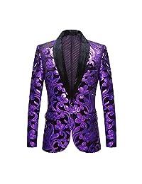 PYJTRL 男士时尚天鹅绒亮片花卉图案西装夹克外套