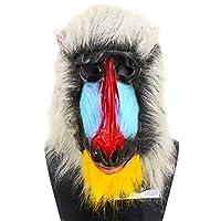 马达加斯加 Baboon 面具动物乳胶面具逼真丛林猴子野生动物Mandrill 服装派对角色扮演