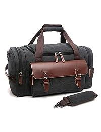 crosslandy 夜旅行袋皮革帆布运动健身包复古周末手提包耐用 CARRY ON 行李
