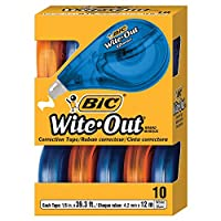 BIC Wite-Out EZ Correct修正带,白色,10个