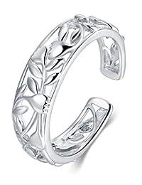 BORUO 925 纯银趾戒,玫瑰花设计可调节戒指 Silver rose Toe Ring