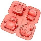 Freshware CB-900RD 4-Cavity Fun Shape Silicone Mold for Homemade Soap, Jello, Pudding, Cake, and More
