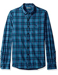 Michael Bastian 男式長袖拼色格子梭織襯衫