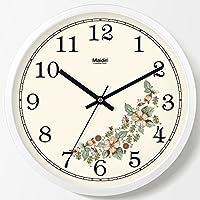 金属边框客厅挂钟欧式时钟卧室钟表儿童房壁钟静音北欧创意挂表办公室简约时间温度万年历石英钟