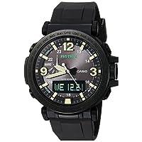 Casio 卡西欧男式'PRO TREK'石英树脂和硅胶休闲手表,颜色:黑色(型号:PRG-600Y-1CR)