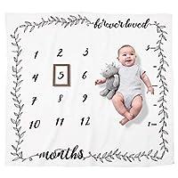 Pondering Pine 有机里程碑毯 - 新生婴儿男孩或女孩礼物 - 每月摄影背景道具