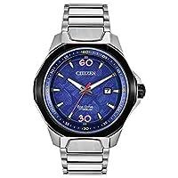 Citizen 光动能漫 80 周年纪念 AW1548-86W 男式银色钛表带蓝色石英表盘手表