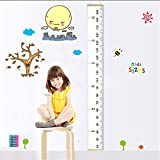 """Fixget Baby Height Growth Chart, Roll Up Canvas Hanging Ruler Measurement Removable Wall Decor Fabric Chart with Wood Frame for Kids Bedroom Nursery, 79""""x7.9"""""""