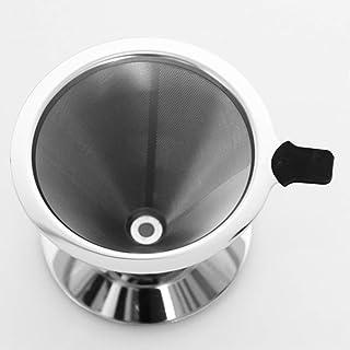 TEEMADE Pour Over 咖啡过滤器带立式无纸倾倒咖啡滴滤器手动可重复使用不锈钢锥形过滤器,单滴滤,双网眼内衬
