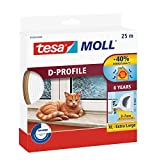 tesa 05389–00000–00moll d-profile draught excluder 适用于门和 Windows ,白色,25M X 9mm