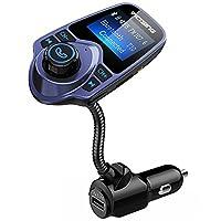 VicTsing Bluetooth FM Transmitter 1.44 Inch Display TF Card Slot 蓝色