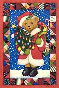 托兰家庭花园圣诞熊 31.75 x 45.72 cm 装饰彩色圣诞被子设计 节日礼物 花园旗帜