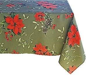 "Newbridge 宁静的府绸印花圣诞面料桌布和餐巾纸,Holly Berry 圣诞印花布 Peaceful Poinettia - Green 60"" x 120"" Oblong"