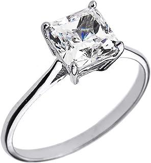 10k 白金 CZ 公主型切割单粒宝石订婚戒指