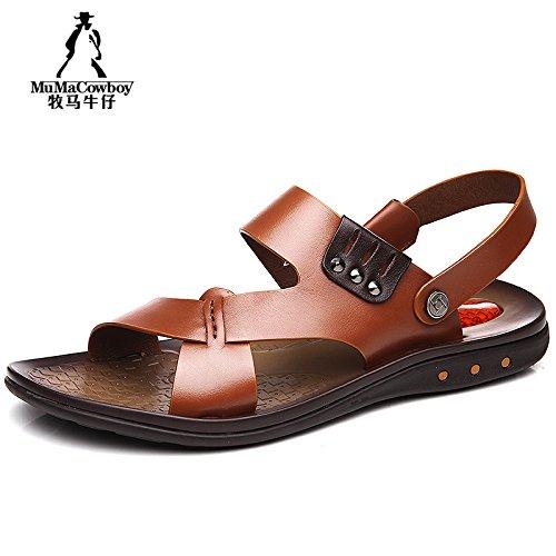 牧马牛仔 男士凉鞋 真皮凉鞋 男露趾头层牛皮夏季沙滩鞋 休闲凉鞋 男鞋 2A7807