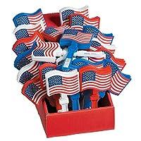 36 个美国国旗夹(展示盒内)塑料噪音产生器 6 3/4 英寸。 零售就绪。 7 月 4 日、退伍军人节和纪念日庆祝活动与活动。