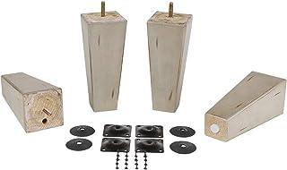 ProFurniture零件 17.78 cm 仿古灰色表面方形锥形金字塔木沙发桌腿 4 件套带支架板