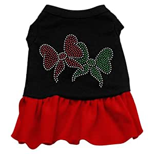 Mirage Pet Products Christmas Bows Rhinestone 10-Inch Pet Dress, Small, Black with Red