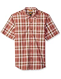 Timberland PRO 男式 Plotline 短袖格子工装衬衫