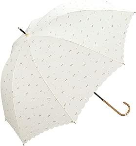 【亚马逊进口直采】W.P.C 世界派对 标准 长伞 手动打开 宝石丝带 奶白色 8根骨架 58cm