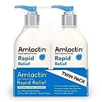AmLactin 快速缓解修复乳液 + Ceramides 24 小时干燥缓解乳液 - 强力阿尔法-羟基*温和去角质 乳酸 (AHA) - 粗糙易变干性皮肤 - 双包装 (2) 7.9 盎司 奶瓶