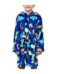 男童浴袍,幼儿儿童连帽睡袍,柔软长毛绒羊毛睡衣,适合男孩和女孩 Blue Cartoon Dinosaur Tag 110cm/ 4T