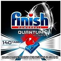 Finish Quantum Ultimate 洗碗機用洗滌塊,不含磷酸酯,具有強大的清潔,溶解油脂和光澤作用,大包裝140片