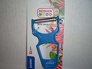 Y Vegetable Peeler - 重型超尖碳钢瑞士刀片,符合人体工程学的塑料手柄 - Kosher Cook 提供的彩色编码厨房工具 蓝色 kosher_cook_05881_EU