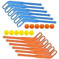 Liberty Imports Face Off 双曲棍球棒儿童运动套装 6 包 蓝色、橙色