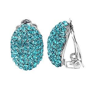 Yoursfs 带圆形奥地利水晶耳环(镀 18K 玫瑰金) 蓝色耳环