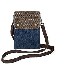 Canvas Passport Holder | Multi-Pocket with Neck Strap & Wrist Band | Travel Pouch | Cell Phone & Card Purse | Passport Wallet Organizer