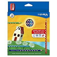 LYRA Groove 修身儿童抓握三角彩色铅笔,3.3 毫米内核,含铅笔,一套 24 支三角铅笔,各种颜色 (2821240)