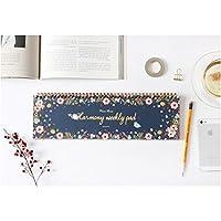 POURVOUS Harmony 每周计划员垫,无日期桌日历、约会书、安排书、60 周、12 种花卉图案设计,14 x 4 英寸