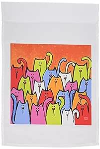 S. fernleaf Designs 民间艺术画狗–2狗白色小鸟宠物动物可爱原创艺术画–旗帜 12 x 18 inch Garden Flag