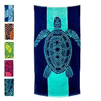 Nova 蓝色海龟沙滩毛巾 - 热带蓝色,设计独特,特大号 (83.82x152.40) * 纯棉制造,儿童及成人