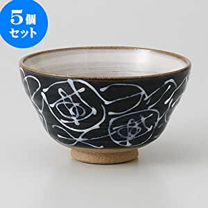 一珍花纹 茶碗 [ 11.7 x 6.7cm 210克 ] 【 茶碗 】 黑色 mgk-222037-5set