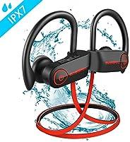 蓝牙耳机,BassPal TonePro U14 无线运动耳机防水 IPX7,带 Mic Richer 低音高清立体声防汗耳塞,适合健身 9 小时电池降噪耳机