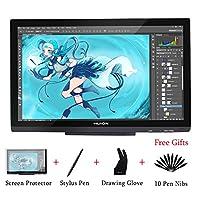 Huion GT-220 V2 黑色图形绘图显示器 8192 笔压力 21.5 英寸 HD(1920x1080) IPS 笔显示屏 适用于 Windows 和 Mac
