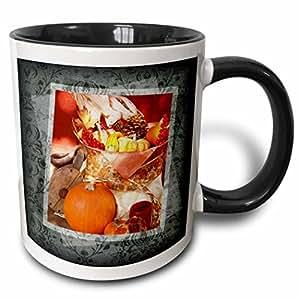 Susan brown 设计的一般主题–秋季丰收篮–马克杯 黑色/白色 11-oz Two-Tone Black Mug