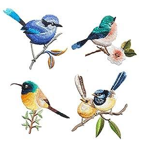 4 件套可爱小鸟精致刺绣补丁,刺绣补丁,熨烫补丁,缝制贴片,酷炫贴片,适合男士、女士、男孩、女孩、儿童