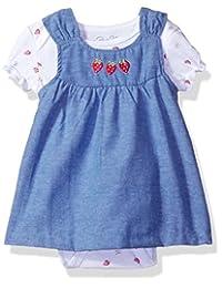 RENE rofe baby 婴儿女孩2PC 条纹后搭扣 jumper 套装带短袖连体衣