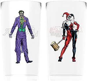 DC 漫画蝙蝠侠小丑和哈雷·奎恩两只大玻璃,玻璃,多色