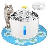 EZVOV 猫水喷泉不锈钢,智能关机宠物喷泉猫饮水器,带 3 个替换过滤器和 1 个硅胶垫,超静音,适合猫、狗、多宠物。