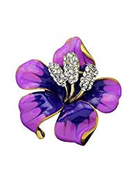 Jesse Ortega 女式女孩复古玫瑰花仿水晶胸针 紫色