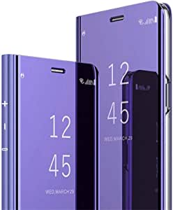 HMTECH 三星 Galaxy J5 2017(European Verion)手机壳设计清晰视角超薄豪华闪亮电镀镜保护翻盖对开支架保护套适用于三星 Galaxy J5 2017 (J530) 紫色