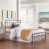 eLuxurySupply 金属床框 - 复古风风化镍表面折叠床框 - 易于组装,床头板和脚板 - 坚固钢制结构床底座 - 家长