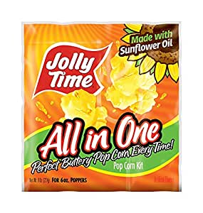 Jolly Time All-in-One Popcorn Machine Kits with Sunflower Oil, Kernels & Salt for 6 oz. Kettles (Pack of 36)