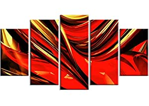 "Designart Red Lava Ribbons 金属墙体艺术 - MT3031-48x28-4 片 60x32"" - 5 Panels Diamond Shape MT3031-373"