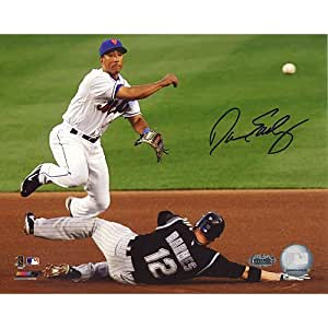 MLB New York Mets Damion Easley Turning Double Play Photograph, 6x20-Inch